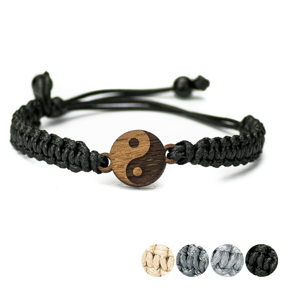 Wooden Bracelet Yin Yang Merbau Cotton