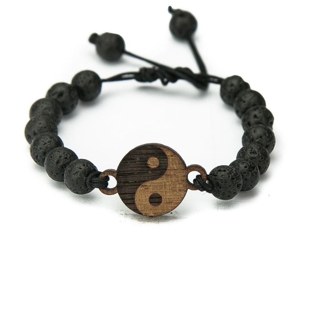 Wooden Bracelet Yin Yang Merbau Stone