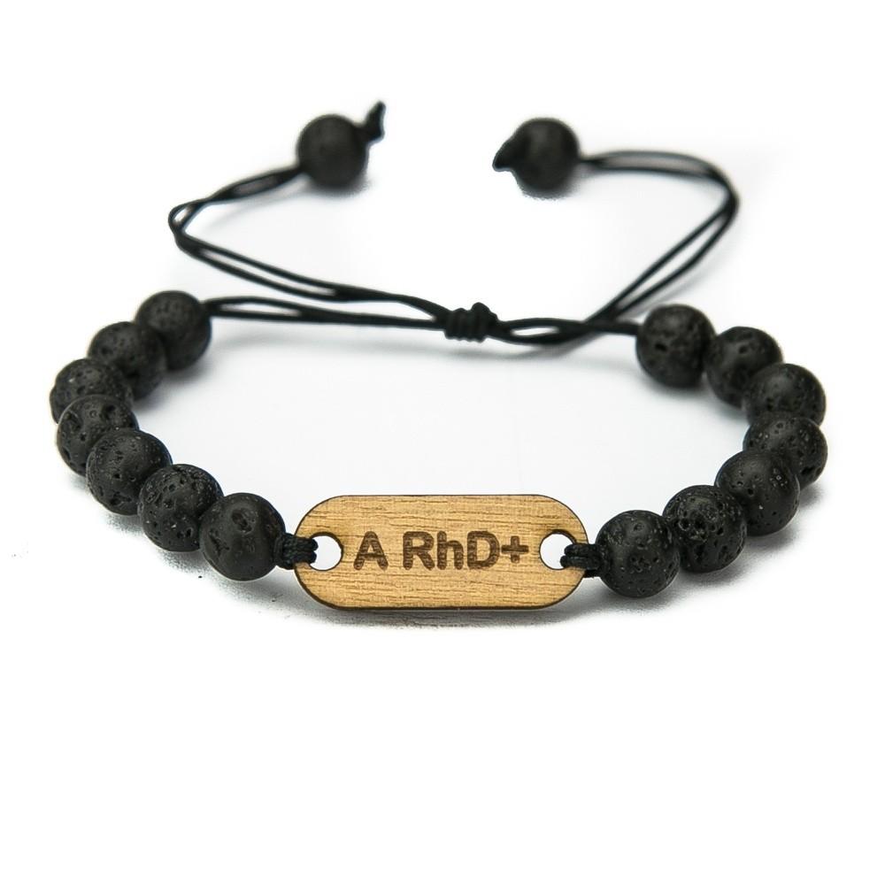 Wooden Bracelet Blood Type Anigre Stone Custom