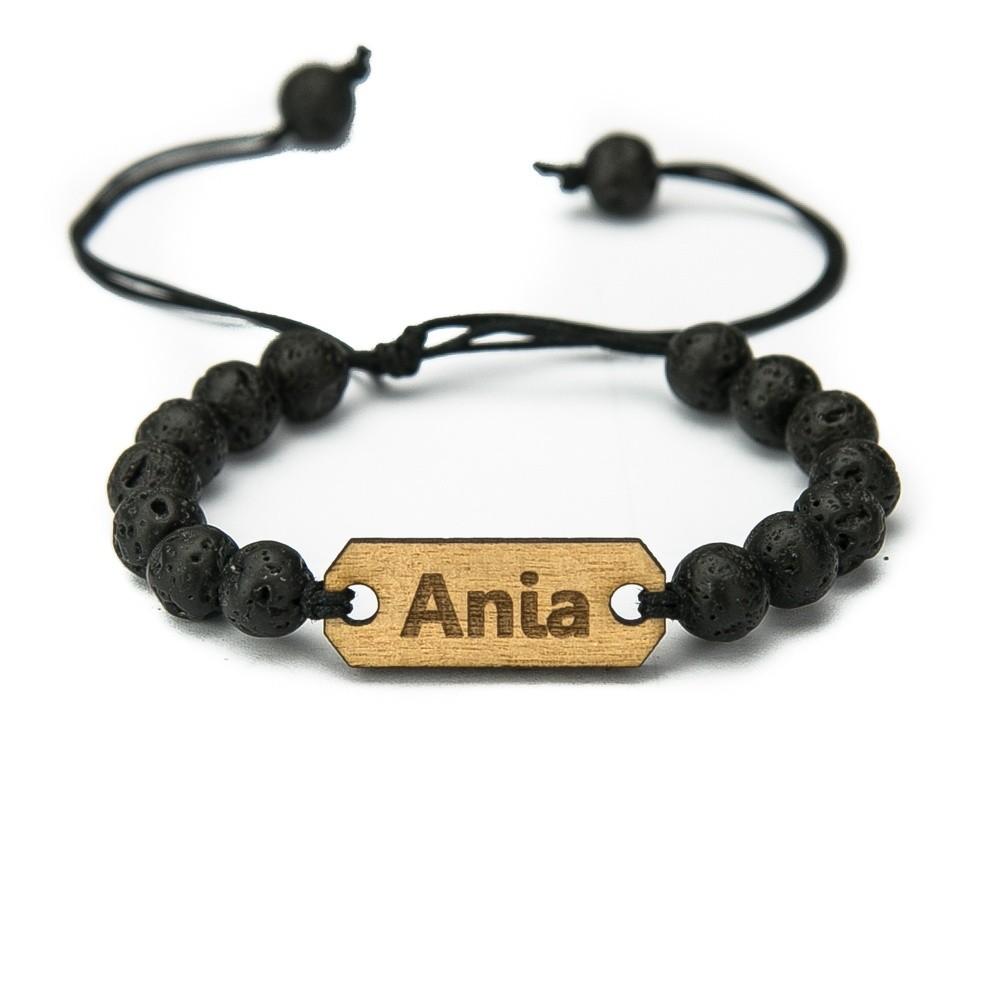 Wooden Bracelet Your Name Anigre Stone Custom